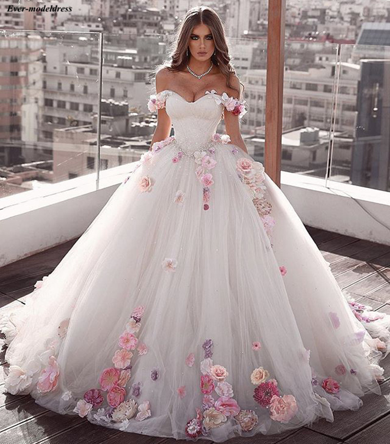 Princess Wedding Dresses Ball Gown Off Shoulder 3d Flowers Beaded