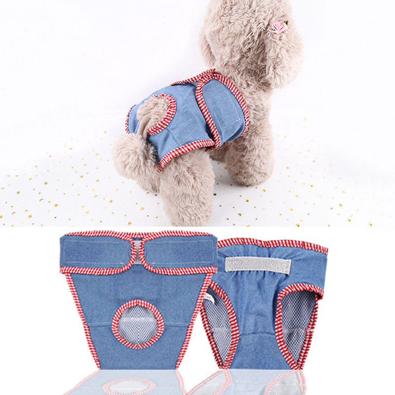 Durable Denim Machine Washable Pet Diapers Dog Sanitary Pantie Adjustable Comfortable Female Dog Wraps Sanitary Pants Underwear