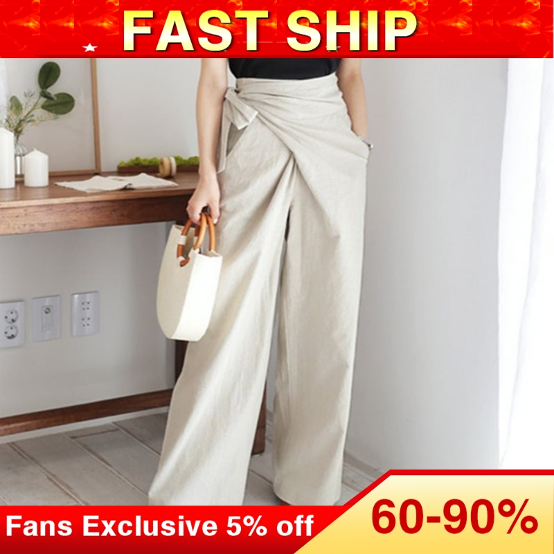 Fall 2019 Vintage Office Ladies Elegant Korean Style Black Pants Women Loose Wide Legs High Waist Plain Female Fashion Trousers