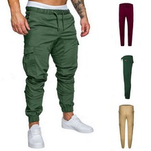 2019 NEW Men Long Cargo Pants Trousers Sweatwear Sport Baggy Comfy Casual Solid Multi-pocket Skinny