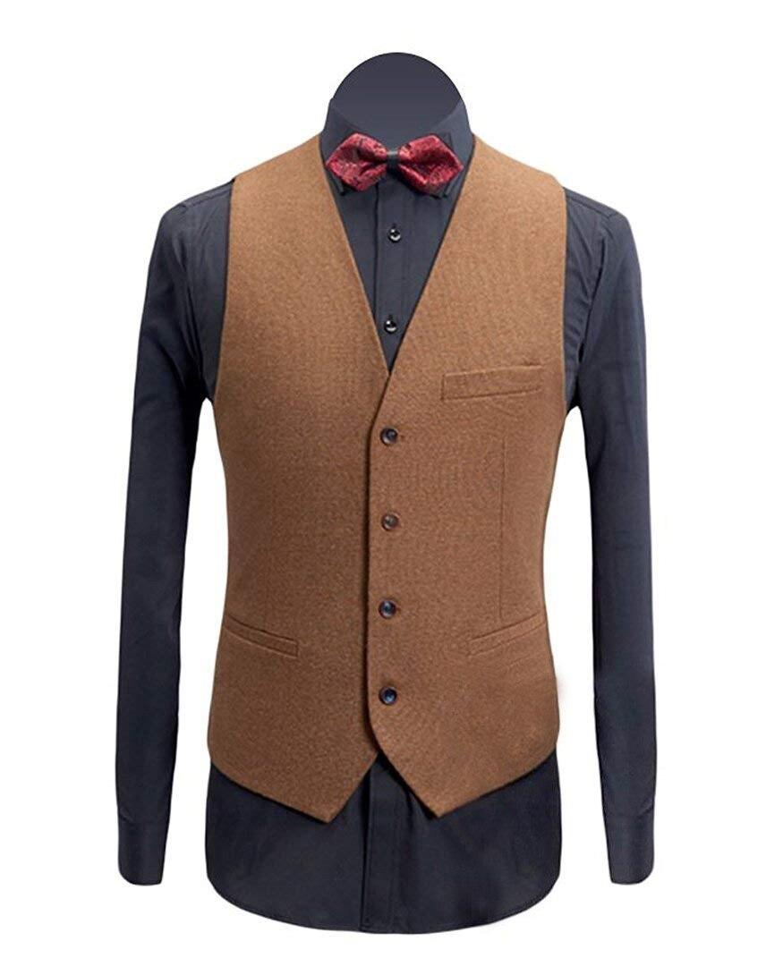 Brown Mens Vest Casual Slim Fit Fashion Solid Businness Sleeveless Groomsmen Wedding Mens Waistcoat Vest