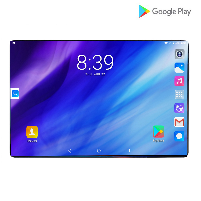 2019 New Big Glass Screen Tablet 10.1 Inch Android 9.0 Octa Core 6GB RAM 64GB ROM 3G 4G LTE 1280*800 IPS 8.0MP IPS Tablets