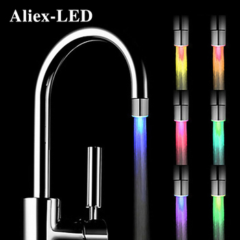 NEW Led Night light rgb faucet creative water lamp shower lamps romantic 7-color bathing household bathroom decorative lights