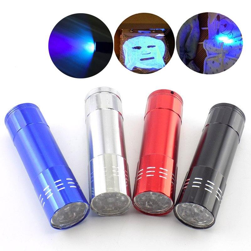 9 LED black Light UV Ultraviolet Flashlight Flash Torches penlight lamp Purple color blacklight Ultra Violet linterna AAA light