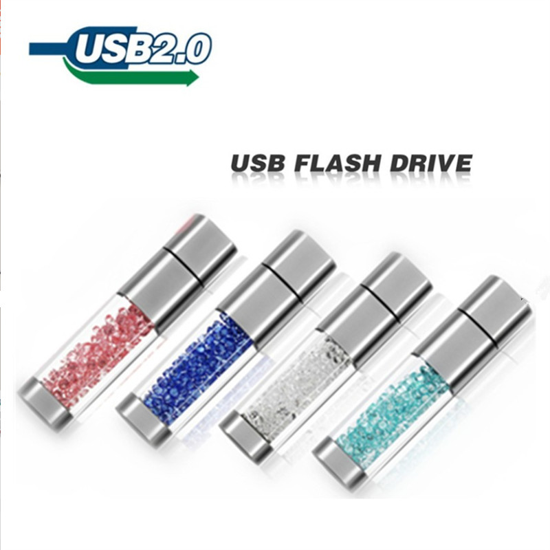 USB Disk 64gb 4gb Metal Pendrive 16gb Jewelry USB Flash Drive 32gb Crystal Pen Drive 8gbusb Memory Flash 128gb Special Logo Gift