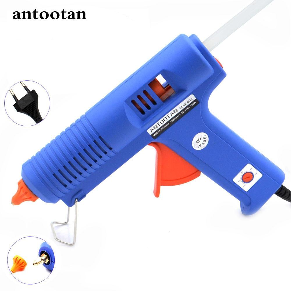 150W EU Plug BULE Pistola de pegamento de fusión en caliente con herramienta de temperatura Pistolas industriales Thermo Gluegun Repair Free 1pc 11mm Stick