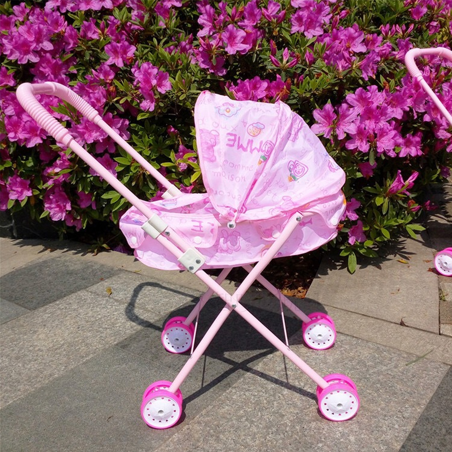 Besegad Cute Foldable Baby Doll Pram Pushchair Simulation Stroller Toy For Childrens Kids Girl Pretend Role Play Toy Accessories