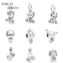 XIAOYI925 Sterling Silver Girl with Pigtails Bull Terrier Labrador Bulldog Puppy Charms Bead Fit Bracelets Jewelry(China)