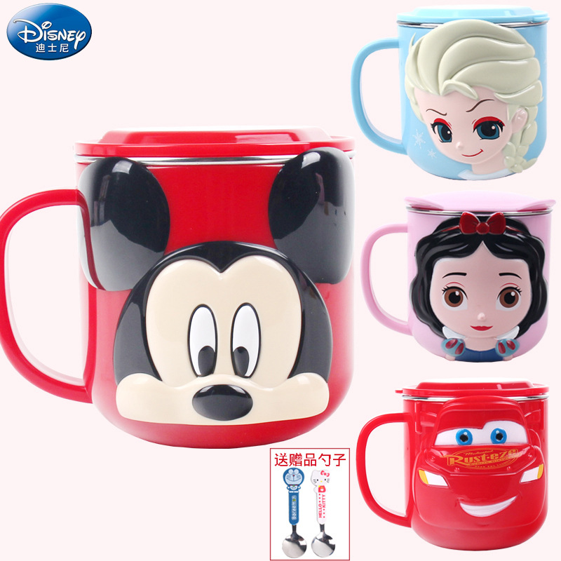Disney CHILDREN'S Cups CHILDREN'S Park Stainless Steel Mug CHILDREN'S Household Shatter-resistant Baby To Drink Glass Sub-with L