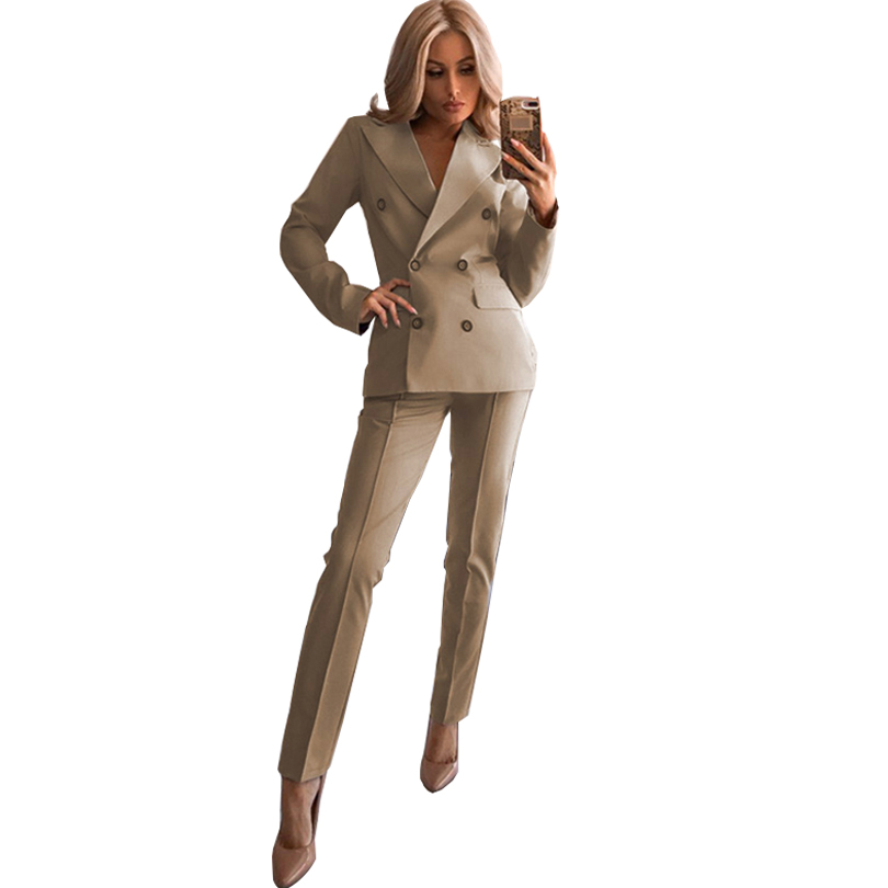 TAOVK Women's Blazer Pant Suits Notched Collar Buttons Design Jacket And Mid Lined Trousers OL Sets