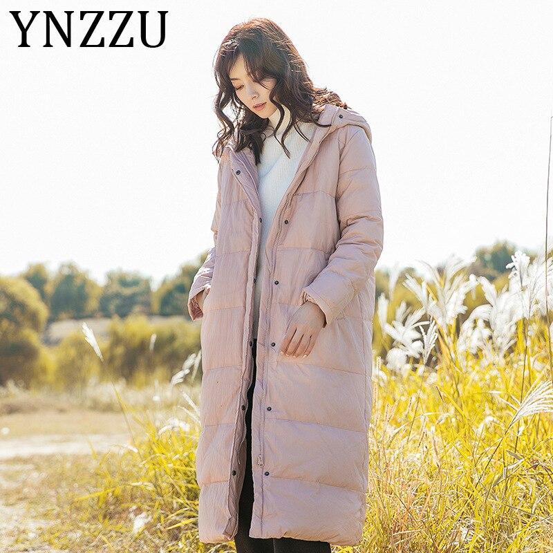 YNZZU Literary style Pink Blue Color Duck   Down     Coat   Women 2019 New Winter Long Brief Thicken Warm Hooded Female Outwear A1312
