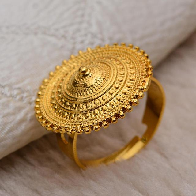 Wando Ethiopian Ring Gold Color round coin Rings for Women Eritrean African Fashion Wedding Ring Middle East Arab Jewelry