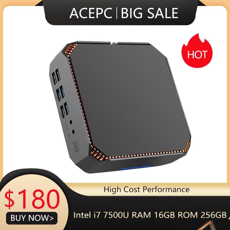 ACEPC CK2 Mini PC I7 7500U Intel Core  I5 7200U I3 7100U Mini Pc Windows10 Linux Gigabit WiFi  HDMI VGA 6*USB 4K Gaming Mini PC