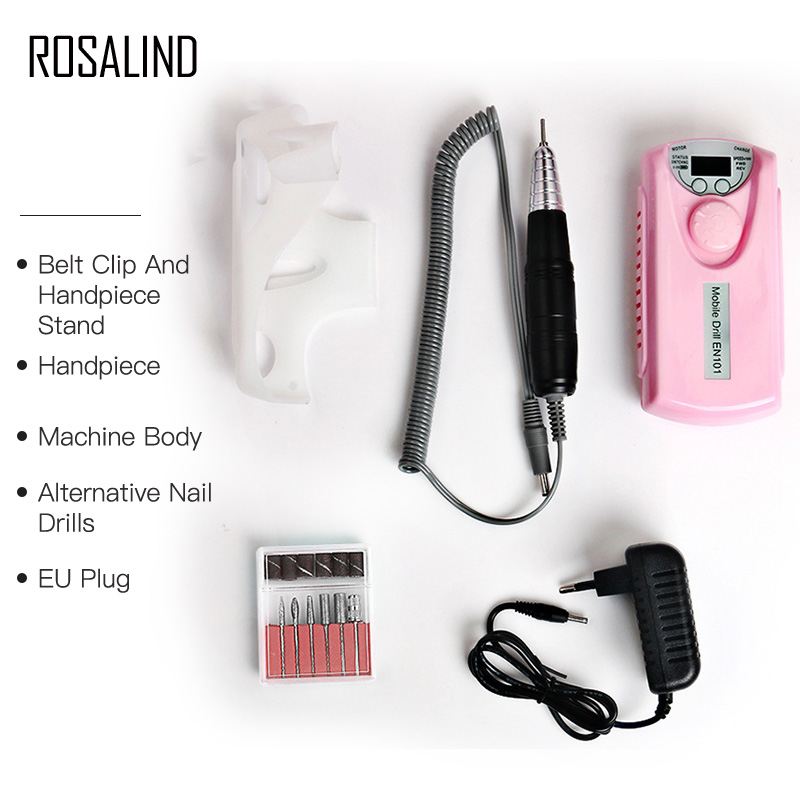 ROSALIND Electric Portable Nail Drill Charging Machine Manicure Grinding Rechargeable Nail Art Tools Kit 6 bits Drill Nail Drill