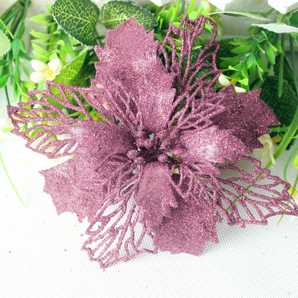 Новогодние искусственные цветы, полые украшения, цветы, сделай сам, голова цветка, Рождество, украшение для дома, свадьбы