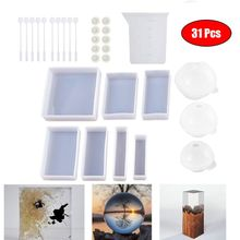 Resin Molds for Crafts Silicone Mold Kit Casting Epoxy UV Resin, Include Square, Rectangle, Ball