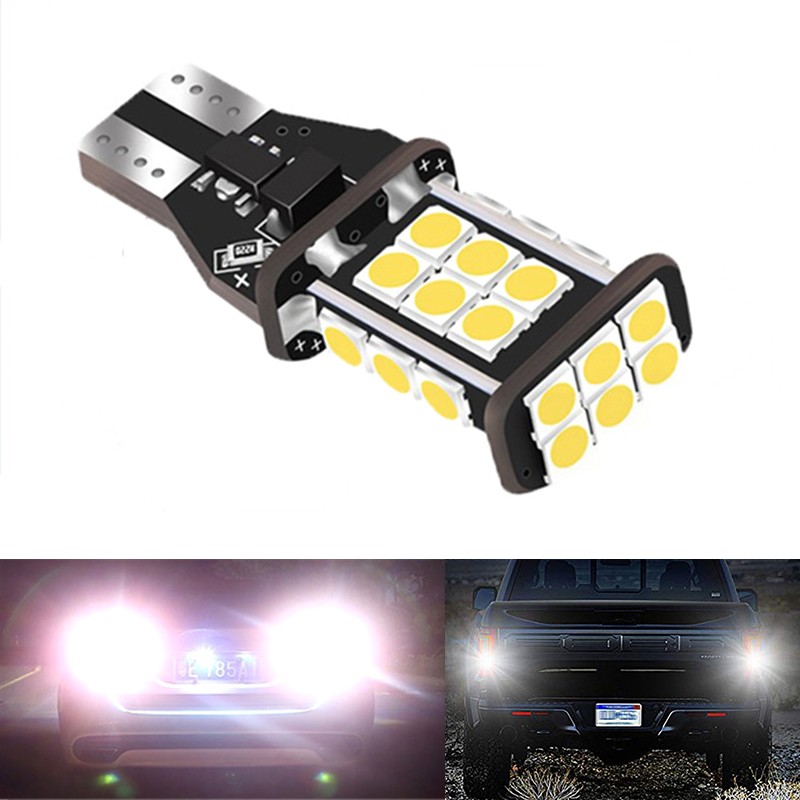 2PCS T15 W16W Super Bright 1200Lm 3030 24SMD Car Tail Bulb Brake Lights 12V Auto Reverse Lamp Daytime Running Signal Light