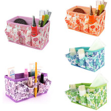 Organizer box makeup organizers Cosmetic Storage Box Bag Bright Color Foldable Stationary Container Makeup organizador(China)