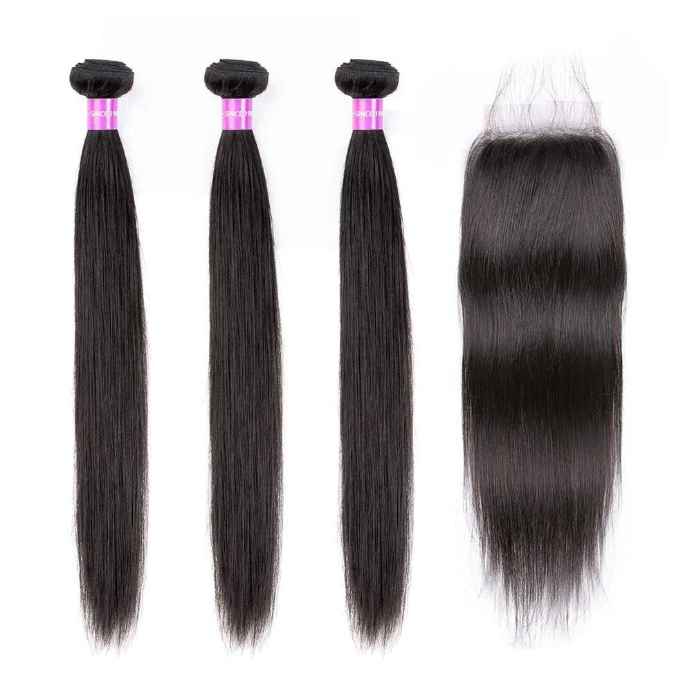 Brazilian Straight Hair Weaving 2/3 Bundles Remy 100% Human Hair Weave Bundle With 4x4 Lace Closure Free part Hair Extension