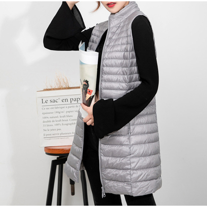 Winter Down Vest Women Large Size Korean Slim Warm Long Vests Female Wild Stand Collar 2020 Fashion Casual Ladies Coat 3XL 4XL
