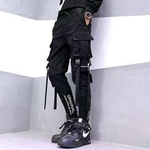 Hip Hop Men Ribbons Cargo Pants Fashion Harajuku 2020 New El