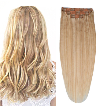 Toysww Clip In Human Hair Extensions Straight Full Head Set 6pcs Machine Made Remy Hair Indian 100% Human Hair Extension sindra indian straight remy hair clip in human hair extensions blonde color 60 full sets 6pcs set 100g 120g