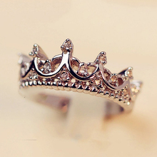 Vintage Crystal Drill Hollow Crown Shaped Queen Temperament Rings For Woman Woman