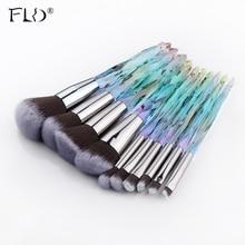 FLD 10Pcs Diamond makeup brushes Set Cosmetic Blush brush Powder Foundation Brush Eye Shadow Lip Eyebrow  Makeup Kit Brushes