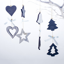 Christmas Tree Decorations Blue DIY Pendants with Bow-knot Hanging String Ornaments New Year Xmas Wooden Crafts 1pcs