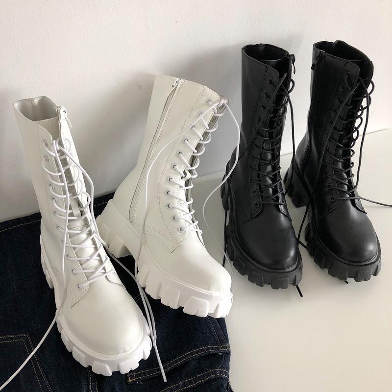 Botas De Media Caña Con Cordones Y Cremallera Para Mujer, Zapatos Deportivos Con Tacón De Plataforma, Para Otoño E Invierno, 2021