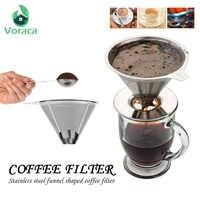Support de filtre à café en acier inoxydable verser sur le café entonnoir infusion filtre à thé filtre à café réutilisable panier à café Pour Dropshipper