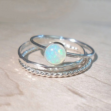 USTAR 3pcs/set Simple Opal Rings set for Women new 2019 Jewelry Silver Finger Knuckle Engagement Female Anel gift