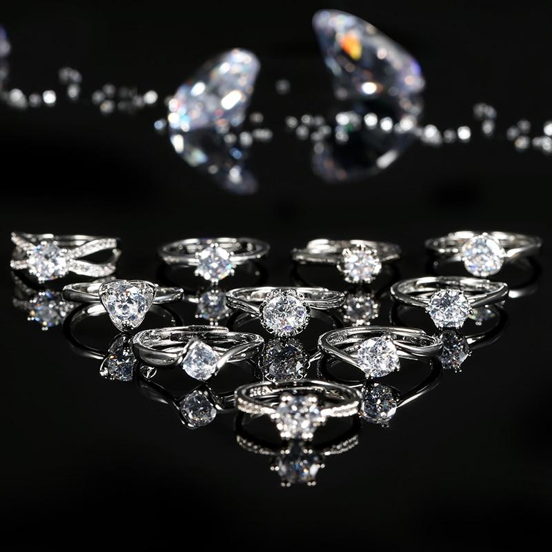 Kinel-Anillos de Compromiso de cristal para mujer, joyería de boda femenina, diseño de gran oferta