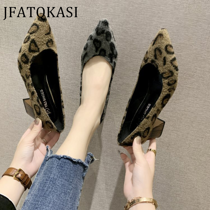 Women High Heels Spring Pointed Suede Thick Heel Comfortable Female Pumps Fashion Brand Sexy Leopard Print Ladies Working Shoes