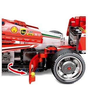Image 4 - Sembo técnica rc brinquedo do carro de controle remoto blocos de construção modelo kit tijolos f1 fórmula corrida carro crianças brinquedos para crianças meninos presente