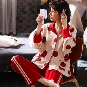 Image 4 - 2019 yeni pamuk pijama sonbahar kış baskılı gecelikler seksi yeşil pijama pijama takım elbise rahat uyku seti sevimli karikatür ev tekstili