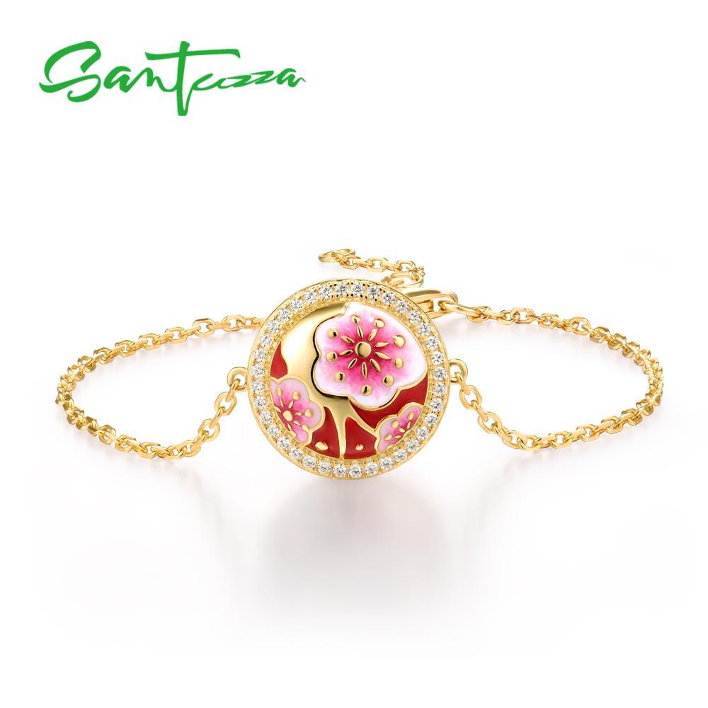 SANTUZZA Silver Bracelet For Women 925 Sterling Silver Delicate Cherry Blossoms Flower Adjustable Fine Jewelry Handmade Enamel