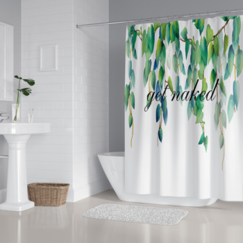 """""""Get Naked"""" Shower Curtain Bathroom Decor Leaves Print Waterproof Durable Fabric Bath Curtain with Hook 9 Patterns"""