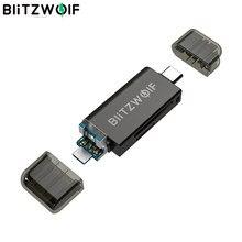 Lector de tarjetas SD/lector de tarjetas TF BlitzWolf BW-CR1 tipo C USB3.0 5Gbps lector de tarjetas de memoria de alta velocidad para Smartphone Ordenador de almacenamiento externo