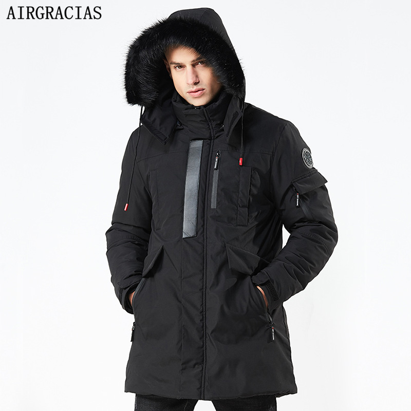 AIRGRACIAS 2019 New Winter Parka Casual Long Style Hooded Cotton Fur Collar Jackets Men Thick Windproof Fashion Men Parkas Coats