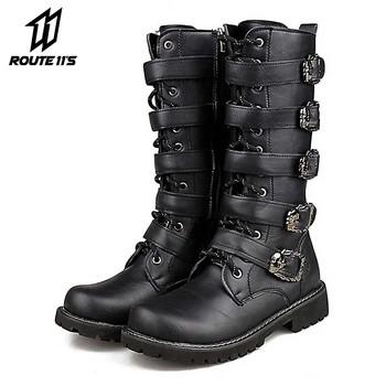 Buty motocyklowe męskie buty motocrossowe buty motocyklowe PU skóra Rock połowy łydki klamra buty motocyklowe Punk Martin buty czarne tanie i dobre opinie CN (pochodzenie) Skórzane Plus size Mężczyźni Motorcycle Boots Motorcycle Shoes Moto Boots Motorcycle Motorbike Cruiser Touring Chopper Scooter Street Moto
