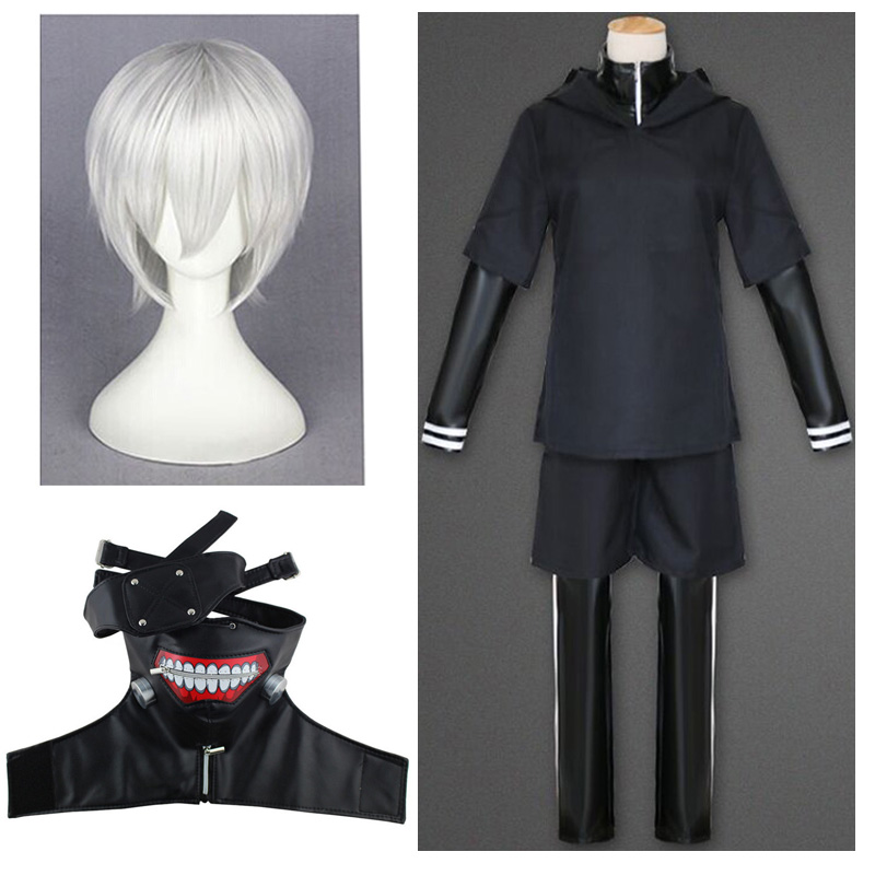 Anime Kaneki Ken Cosplay Costume Tokyo Ghoul Mask And Wigs Sasaki Haise Uniform Full Sets Halloween Party Costumes Adults