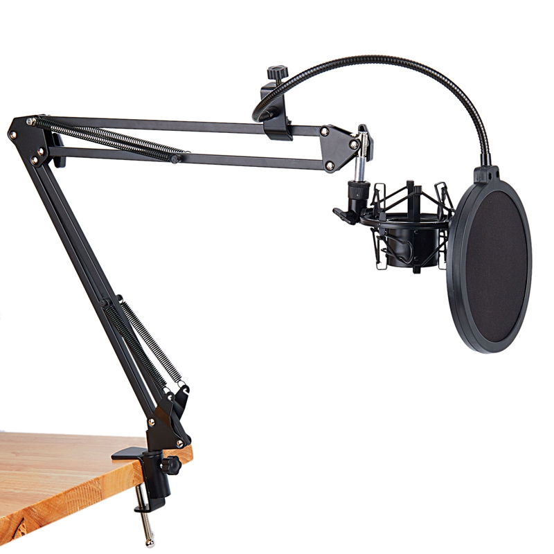 Newest NB-35 Microphone Scissor Arm Stand And Table Mounting Clamp NW Filter Windscreen Shield Metal Mount Kit