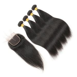 Image 4 - MIHAIR Straight Hair Bundles With Closure Indian Remy Human Hair Bundles With 4*4 Lace Closure Double Weft Bundles With Closure