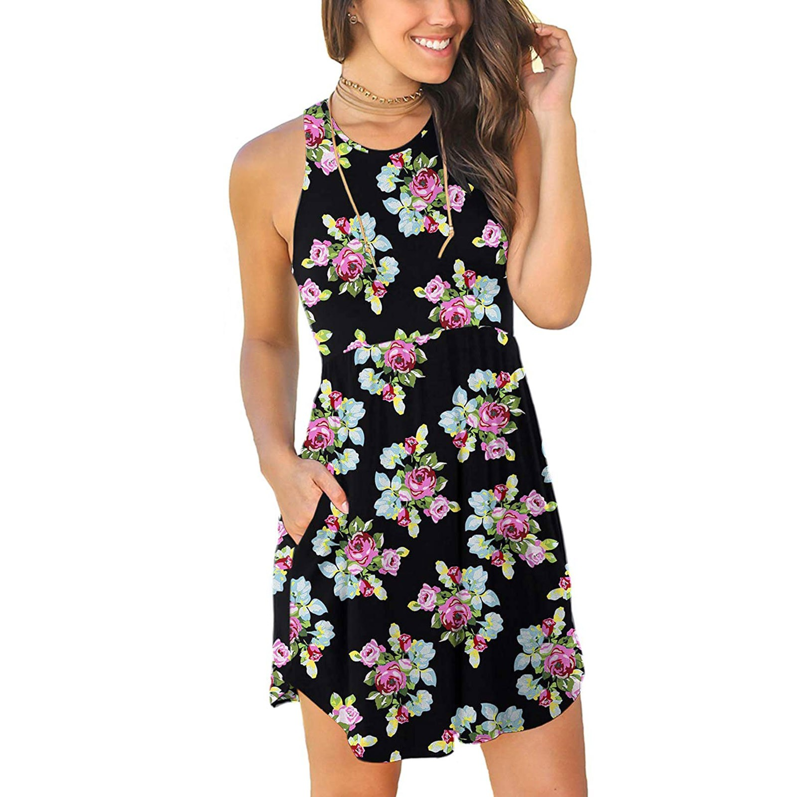 Women's Summer Sleeveless Casual Dresses Swing Cover Up Elastic Sundress with Pockets 5