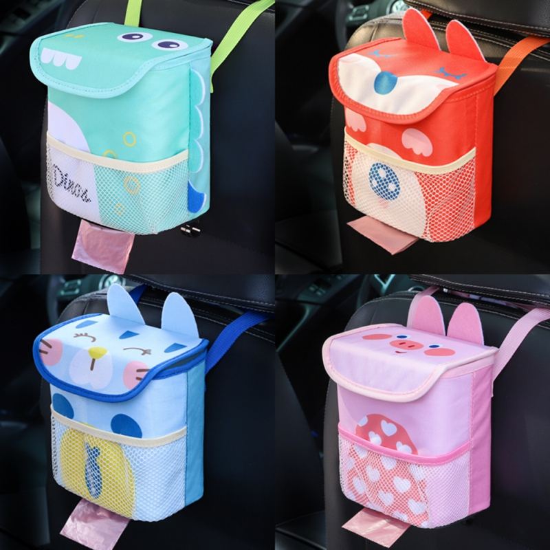 Car Accessories Backseat Car Trash Can Bundle Of Car Garbage Cans With Lid And Car Seat Organizer For Kids