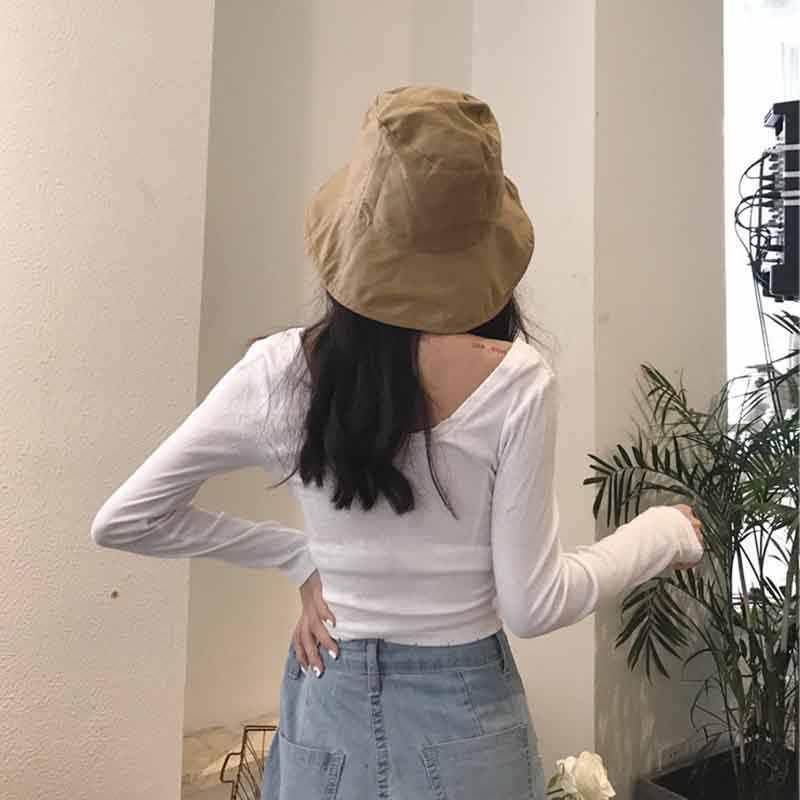 Delle donne A Maniche Lunghe Rotonde del Collo della Camicetta Più Il Formato Solid Slim Fit Pullover Crop Magliette E Camicette