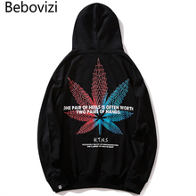 Bebovizi Hip Hop Black Hoodies Streetwear Casual Leaves Print Hoodie Sweatshirt Harajuku Men Pullover Cotton Clothing