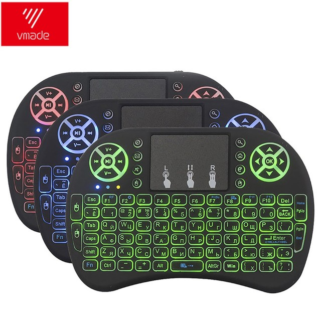 Vmade i8 Backlit Keyboard English Russian Spanish 3 Color Mini Wireless Air Mouse 2.4GHZ Touchpad Laptop For Android Box X96