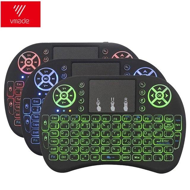 Vmade i8 teclado retroiluminado inglês russo espanhol 3 cor mini rato de ar sem fio 2.4 ghz touchpad portátil para android box x96